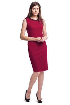 Бордовое платье без рукавов Vilatte со скидкой